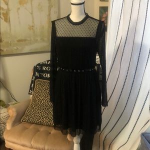 NWT black dress w/ grommets L